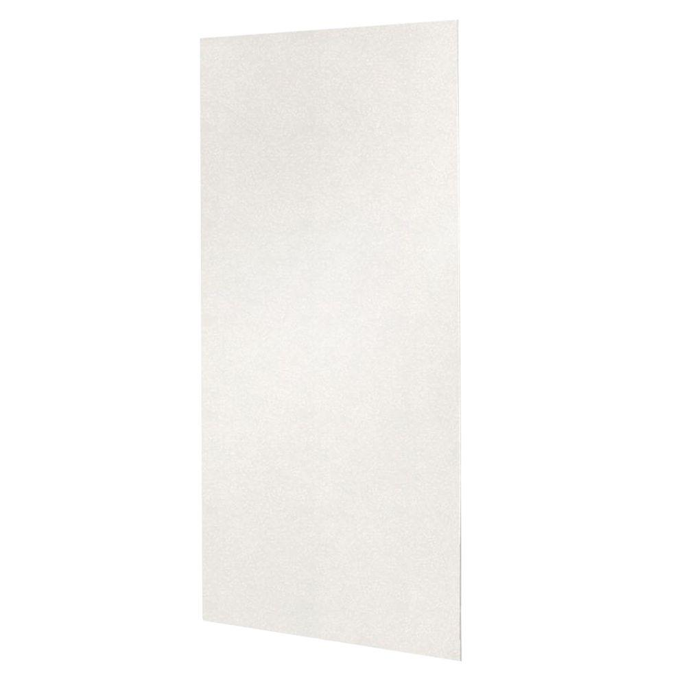 Swan 48 in. x 96 in. 1-piece Easy Up Adhesive Shower Wall Panel in Tahiti White