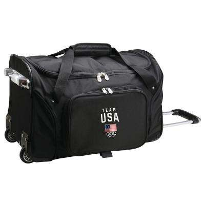 Olympics Team USA 22 in. Wheeled Duffel Nylon Bag in Black