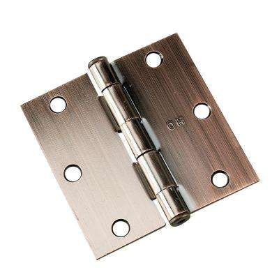 3-1/2 in. x 3-1/2 in. Antique Brushed Copper Full Mortise Butt Hinge