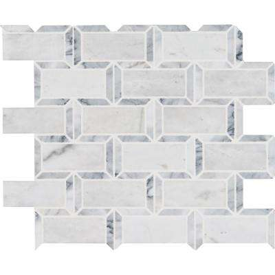 Framework 12 in. x 13 in. x 10 mm Polished Marble Mesh-Mounted Mosaic Tile (10.99 sq. ft. / case)