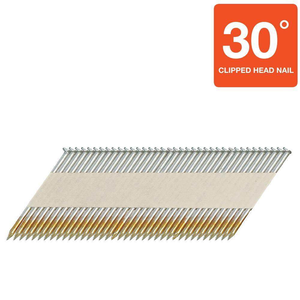 Hitachi 3-1/2 in. x 0.131 in. Clipped-Head Smooth Shank Hot-Dipped Galvanized Framing Nails (2,500-Pack)