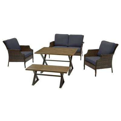 Grayson 5-Piece Brown Wicker Outdoor Patio Dining Set with CushionGuard Midnight Navy Blue Cushions