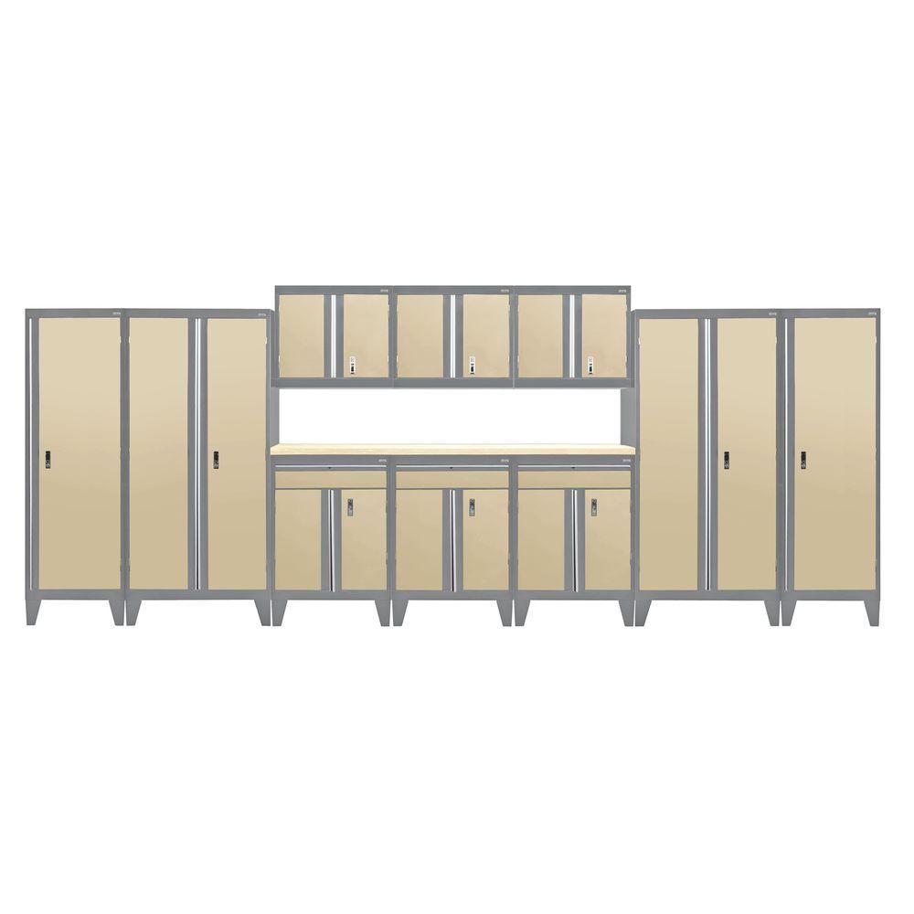 79 in. H x 228 in. W x 18 in. D Modular Garage Welded Steel Cabinet Set in Charcoal/Tropic Sand (11-Piece)