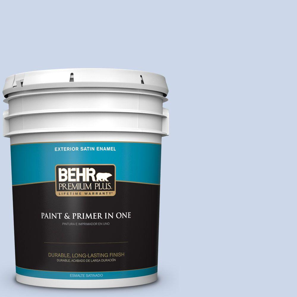BEHR Premium Plus 5-gal. #610C-2 Calm Water Satin Enamel Exterior Paint