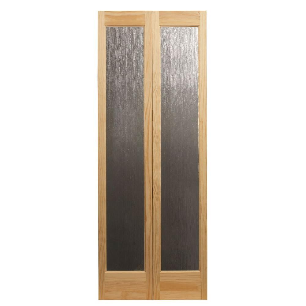 32 in. x 80 in. Rain Decorative Glass/Wood Pine 1-Lite Interior Wood Bi-Fold Door