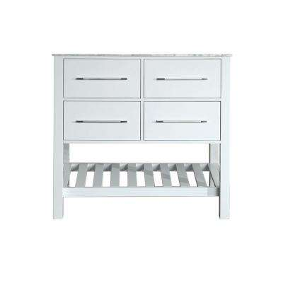 Bosconi 35 in. Main Cabinet Only in White with Matte/Polished Chrome Hardware