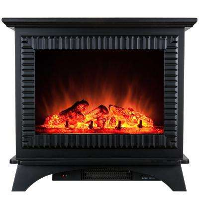 27 in. Freestanding Electric Fireplace Stove Heater in Black with Tempered Glass, Realistic Flame and Logs