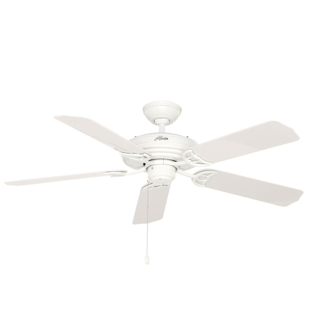 Hunter White Fan Part - 32: Hunter Sea Air 52 In. Indoor/Outdoor White Ceiling Fan