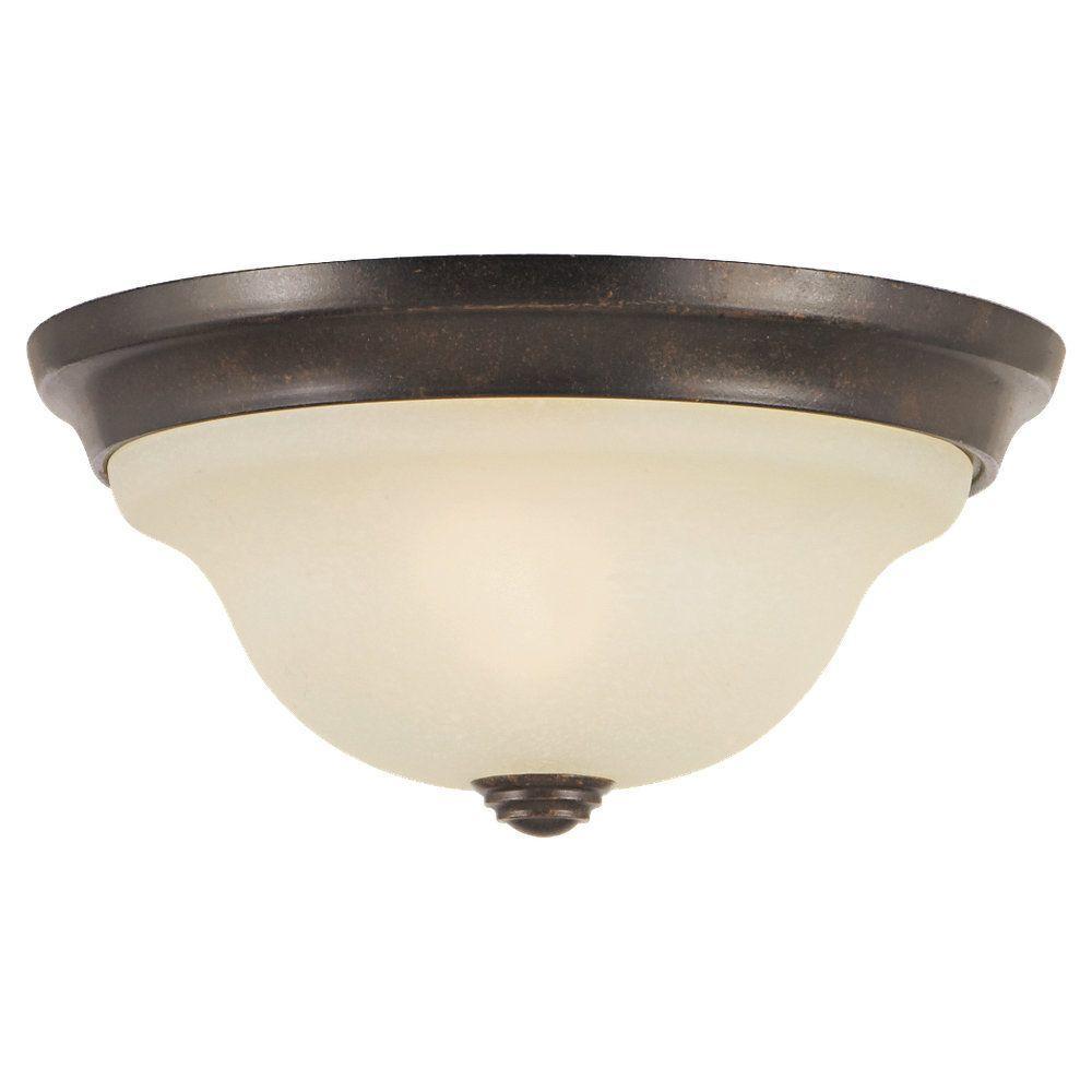 Vista 10.5 in. W 1-Light Grecian Bronze Flushmount with Cream Glass