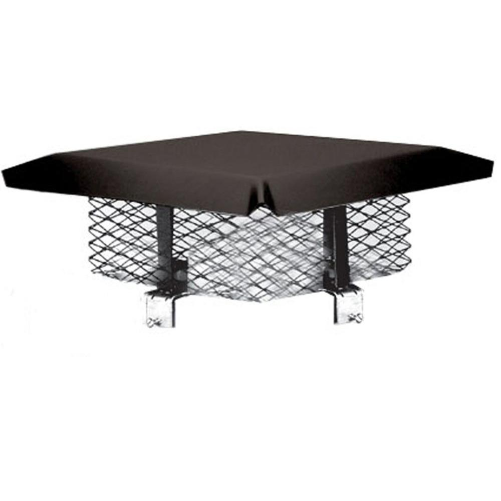 Master Flow 8 in. x 8 in. Galvanized Steel Adjustable Chimney Cap in Black