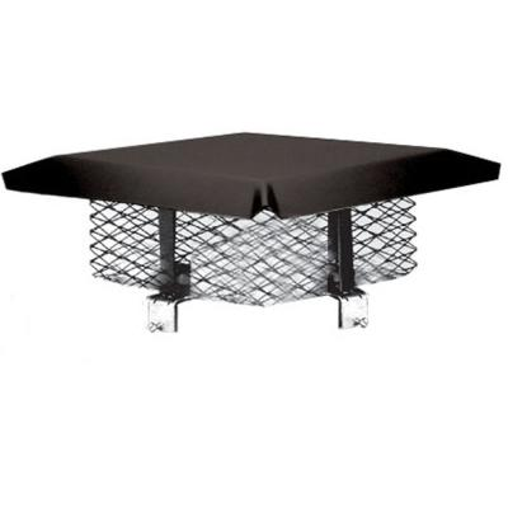 8 in. x 8 in. Galvanized Steel Adjustable Chimney Cap in Black