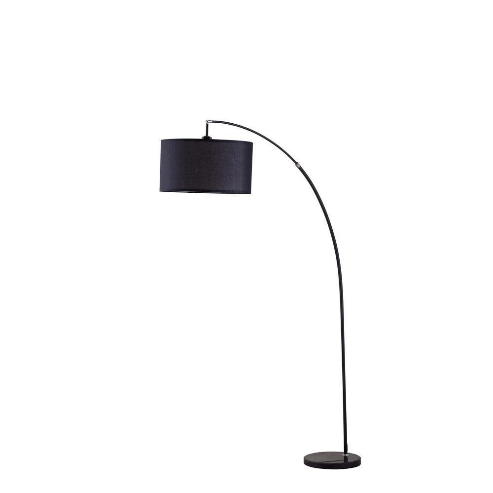 7f1b20bd8ca ORE International 86 in. Bella Black Arc Marble Floor Lamp-6931BK ...