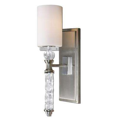 Campania 1-Light Nickel Sconce with Carved Glass