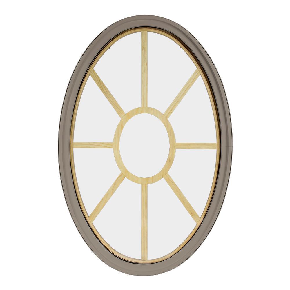 24 in. x 36 in. Oval Sandstone 4-9/16 in. Jamb 9-Lite Grille Geometric Aluminum Clad Wood Window