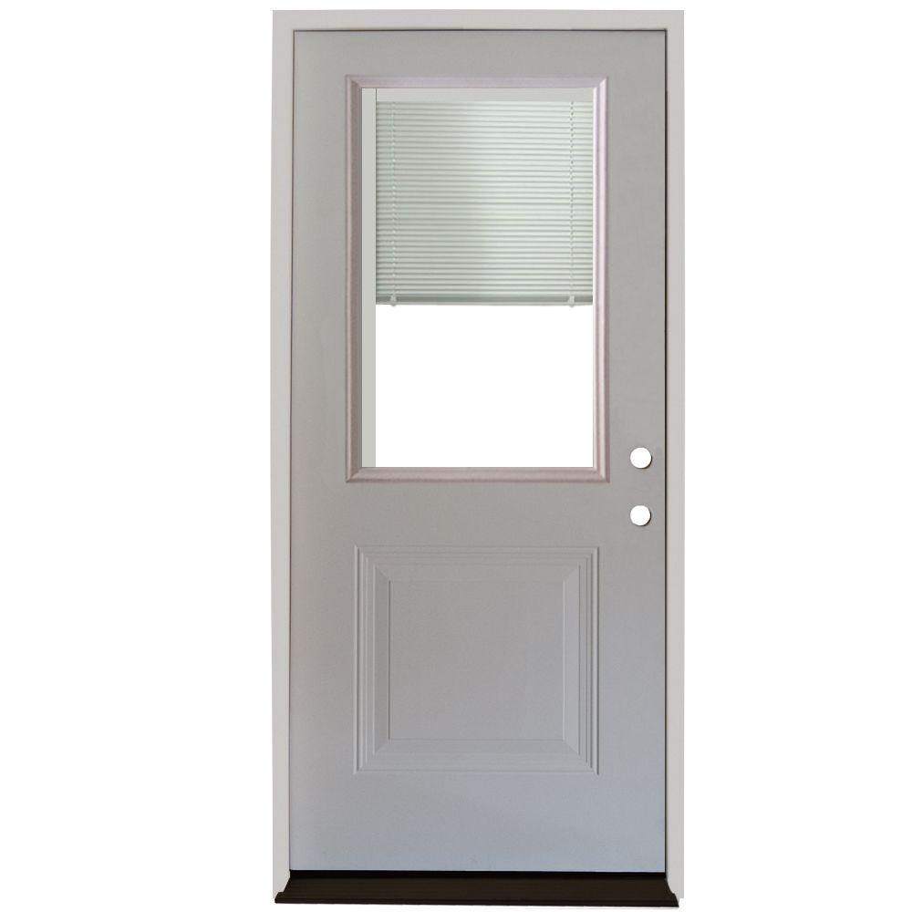 Home Depot Exterior Metal Doors: Steves & Sons 32 In. X 80 In. 1-Panel 1/2 Lite Mini-Blind
