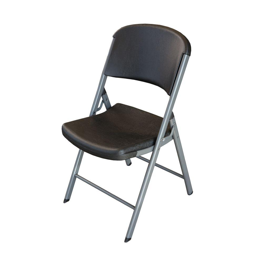lifetime black folding chair set of 4 80407 the home depot