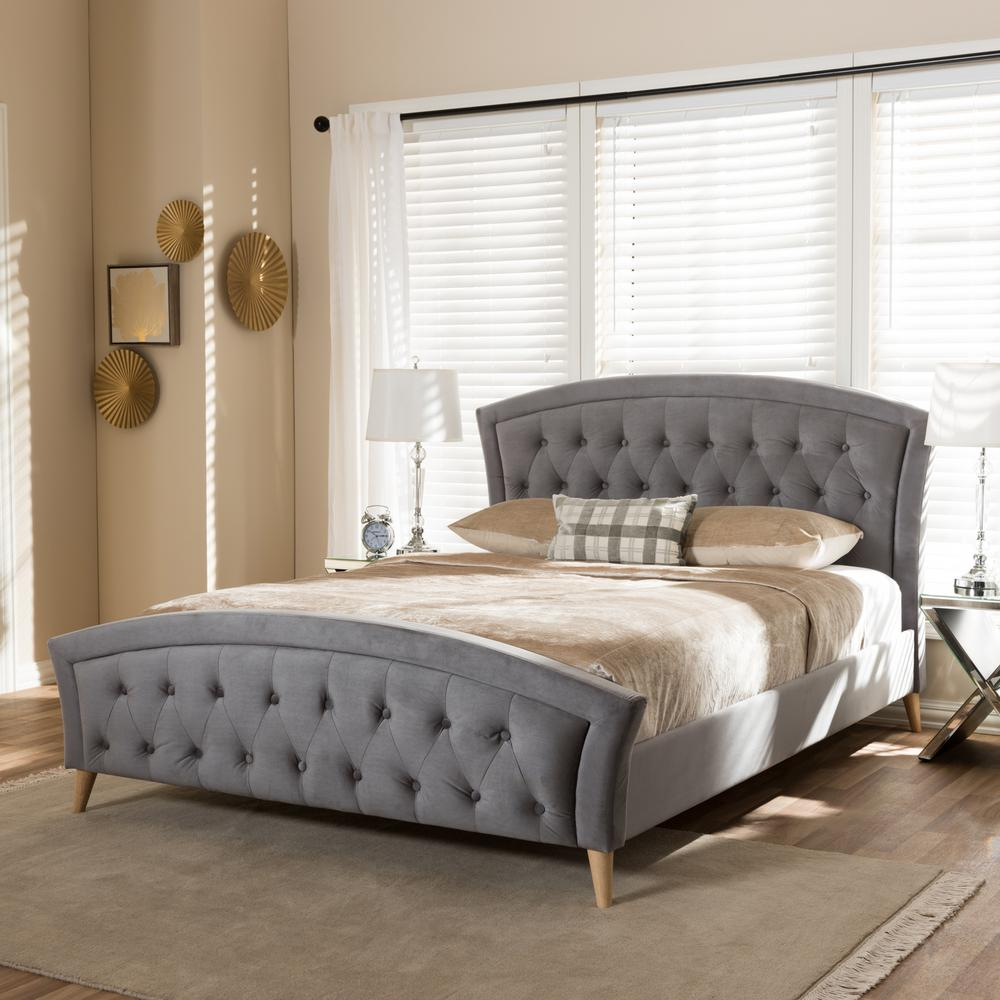 Baxton Studio Hannah Gray Queen Upholstered Bed