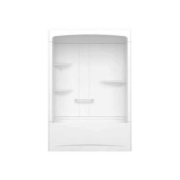 Camelia TSR 33 in. x 60 in. x 88 in. Bath and Shower Kit with Right Hand Drain in White