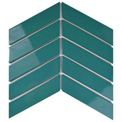 metro soho chevron teal 1 34 in x 7 in porcelain - Turquoise Floor Tile