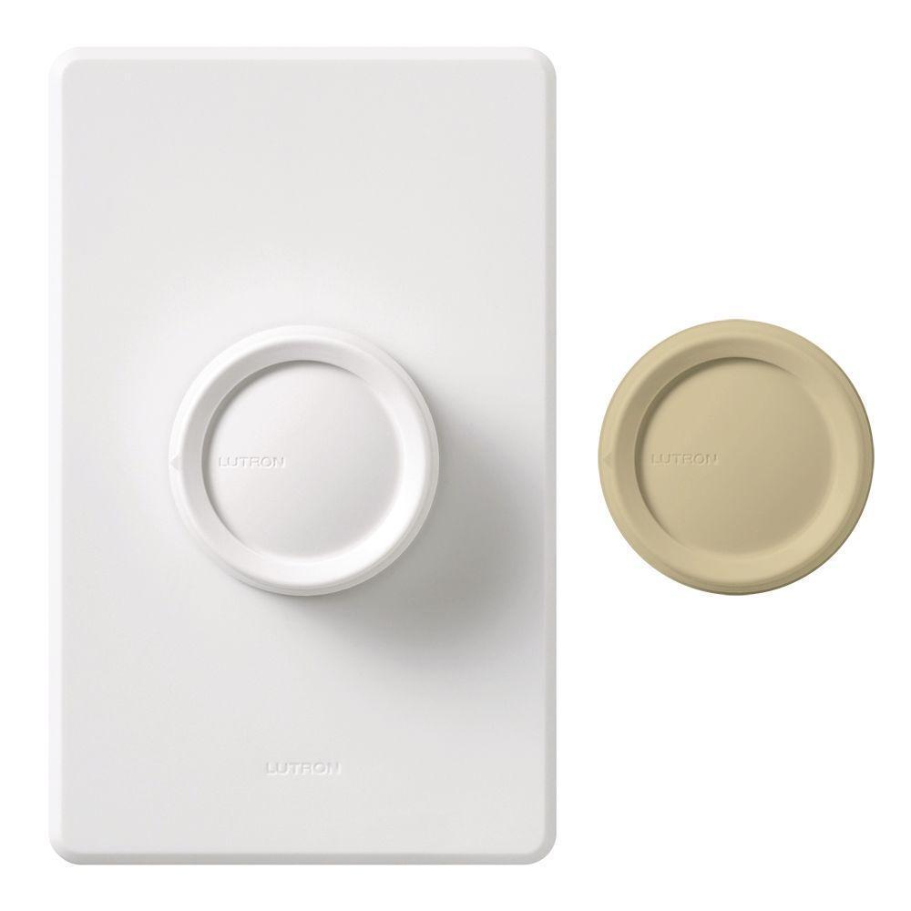 Rotary 600-Watt Single-Pole/3-Way Eco-Dimmer - White/Ivory