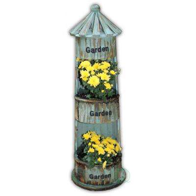 8.2 in. W x 8.2 in. D x 25.4 in. H Wood Lighthouse Planter