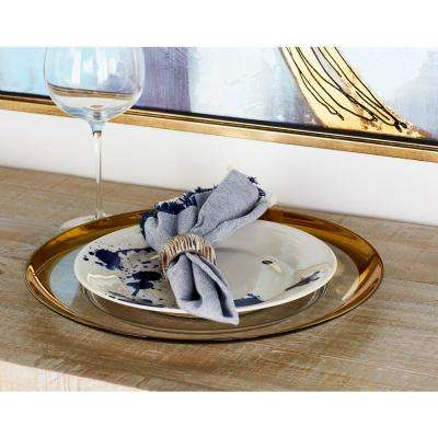 White Charger Plate with Thick Gold Rim
