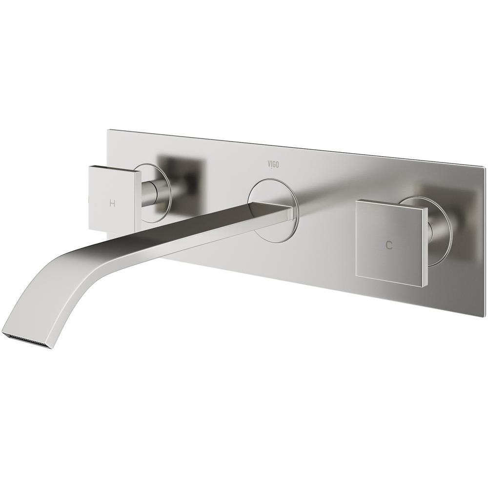 Vigo single hole 2 handle wall mount vessel bathroom faucet in brushed nickel vg05002bn the for Wall mount bathroom faucet single handle