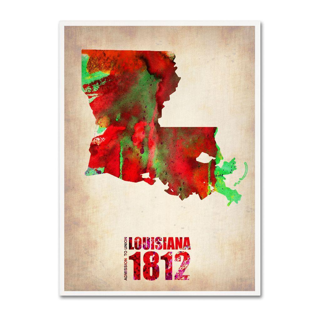 Trademark Fine Art 24 in. x 18 in. Louisiana Watercolor Map Canvas Art