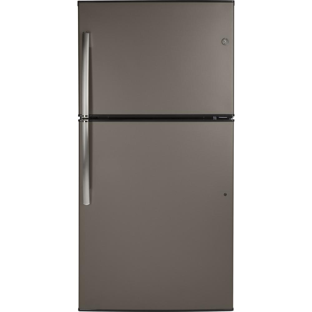 21.1 cu. ft. Top-Freezer Refrigerator in Slate (Grey), Fingerprint Resistant and Energy Star GE appliances provide up-to-date technology and exceptional quality to simplify the way you live. With a timeless appearance, this family of appliances is ideal for your family. And, coming from one of the most trusted names in America, you know that this entire selection of appliances is as advanced as it is practical. Color: Slate.