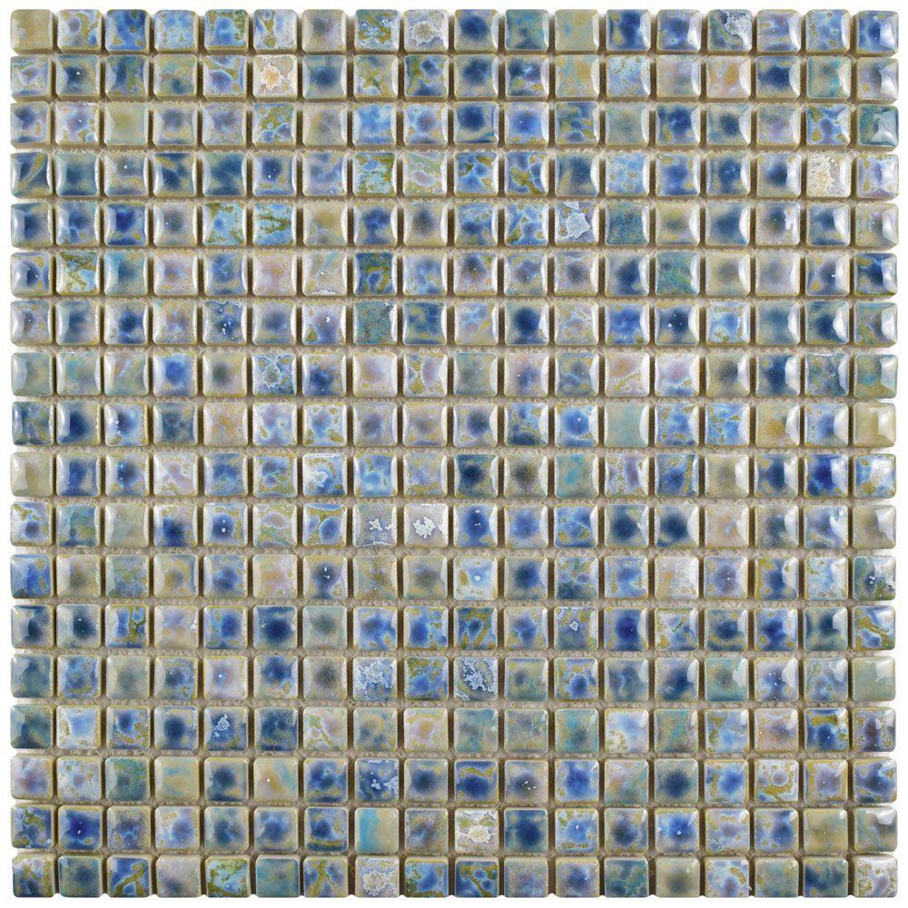 Rustica Mini Neptune Blue 12 in. x 12 in. x 8 mm Porcelain Mosaic Tile
