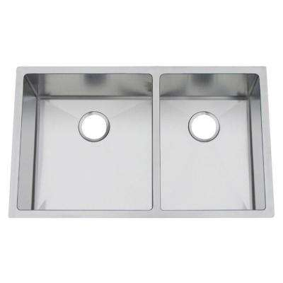 Professional Undermount Stainless Steel 19 in. Double Bowl 60/40 Kitchen Sink