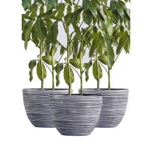 Xbrand 12 in. Tall White Modern Nested Round Textured Indoor/Outdoor Plastic Pot Planter (Set of 3)
