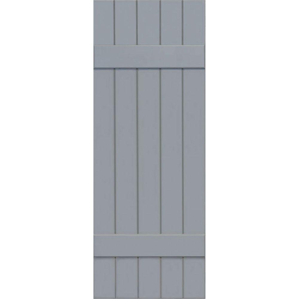 Ekena Millwork 18 in. x 36 in. Exterior Composite Wood Board and Batten Shutters Pair Unfinished