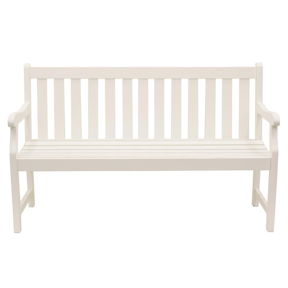 Decor Therapy Henley 57 in. 3-Seat White Wood Outdoor Bench