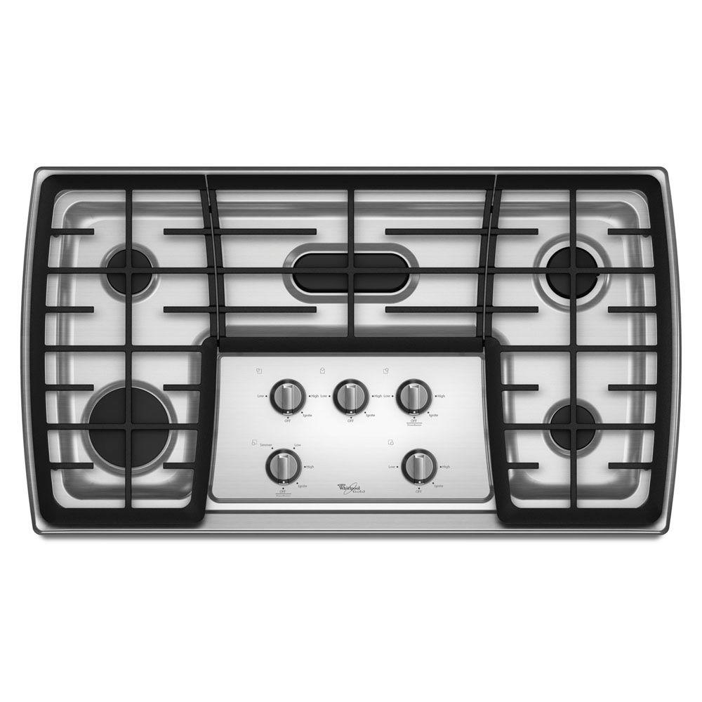 Whirlpool Gold 36 in. Gas Cooktop in Stainless Steel with 5 Burners including Flex Power Burner