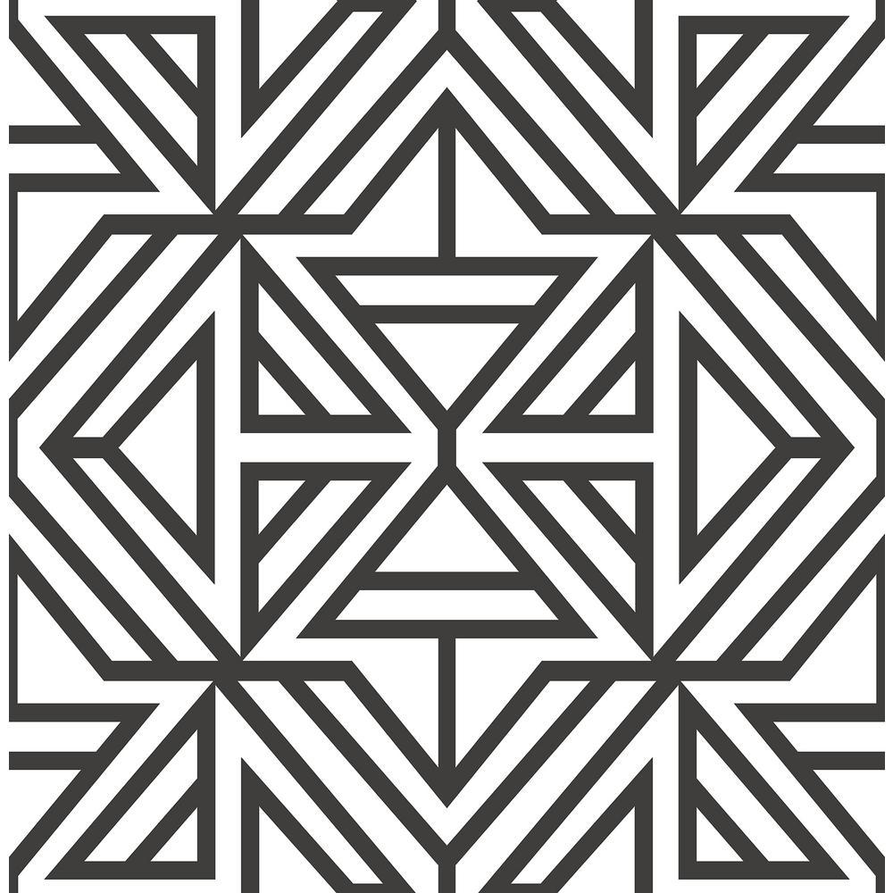 Helios Black Geometric Wallpaper Sample