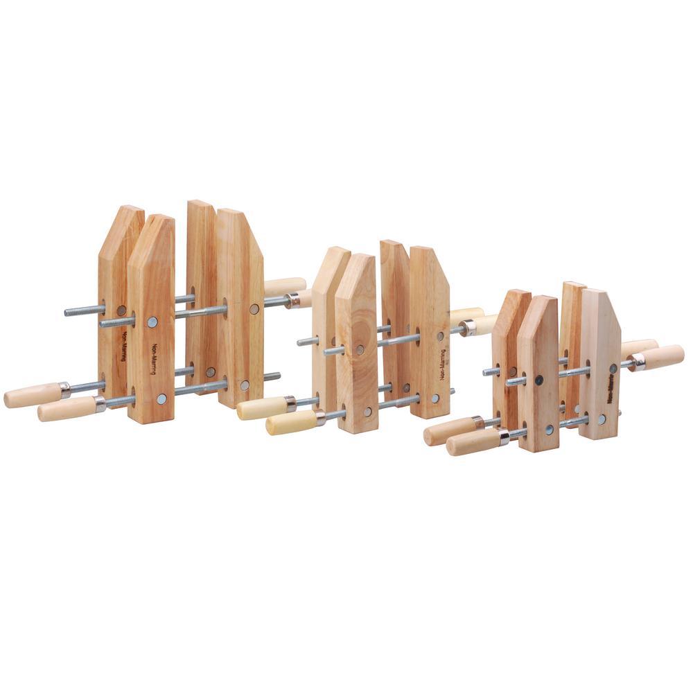 Steel Core 8 in., 10 in., 12 in. Woodworking Handscrew Clamp Set (6-Piece)