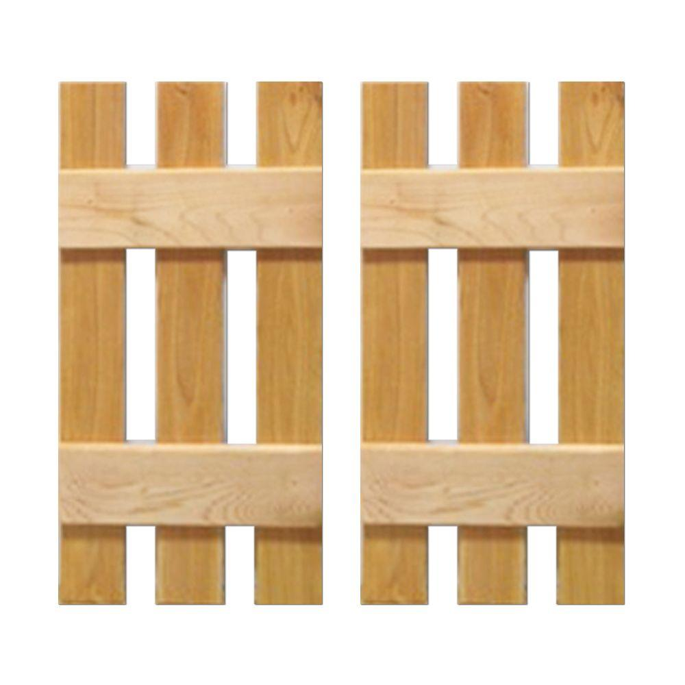 12 in. x 31 in. Natural Cedar Baton Spaced Shutters Pair