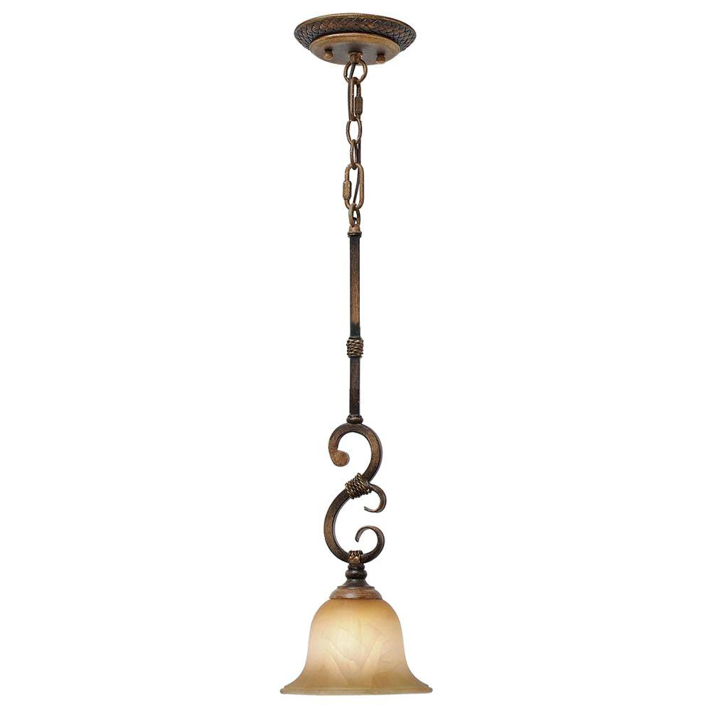 null 1-Light Mini Pendant Antique Marbled Glass Golden Pecan Finish-DISCONTINUED