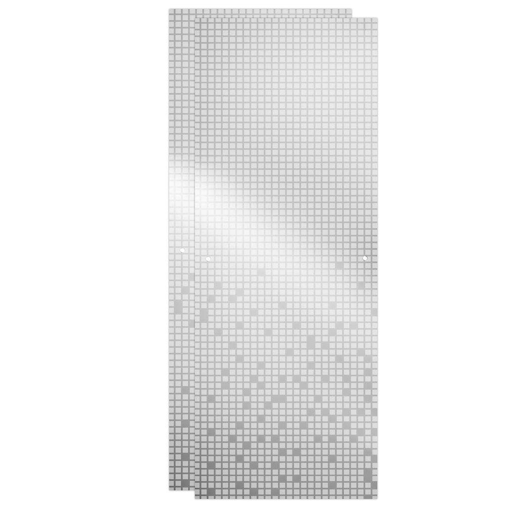 48 in. Sliding Shower Door Glass Panels in Mozaic (1-Pair)