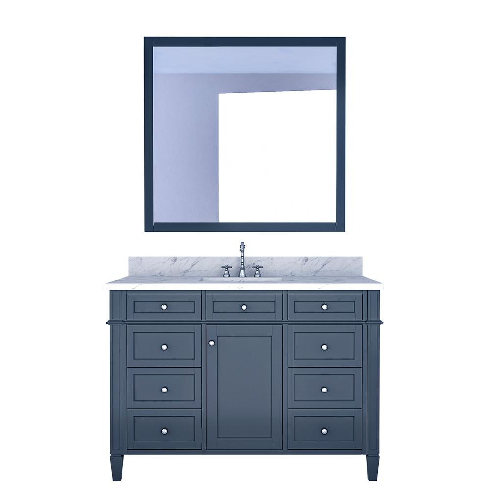Design Element Birmingham 48 in. W x 22 in. D Bath Vanity in Gray with Marble Vanity Top in White with White Basin and Mirror