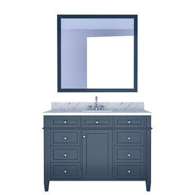 Birmingham 48 in. W x 22 in. D Bath Vanity in Gray with Marble Vanity Top in White with White Basin and Mirror