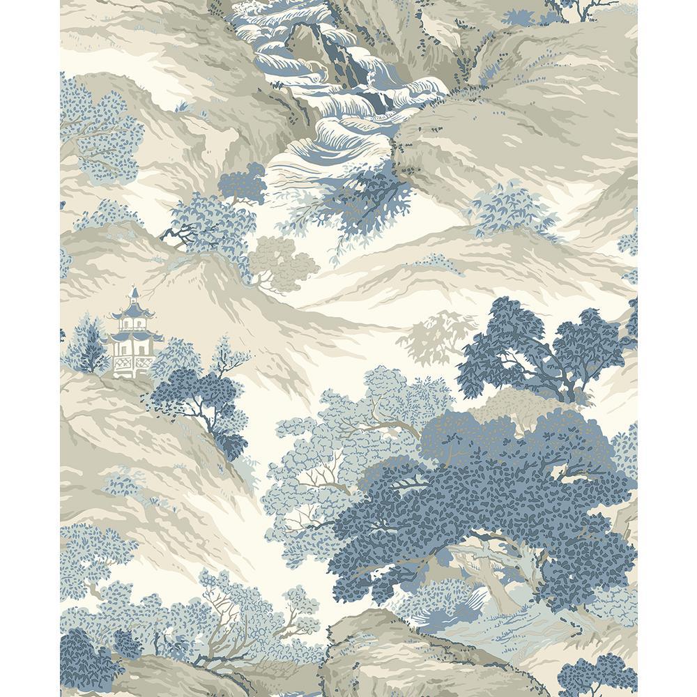 56.4 sq. ft. Ordos Blue Eastern Toile Wallpaper