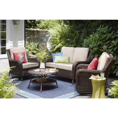 Cambridge Brown Round Wicker Outdoor Coffee Table