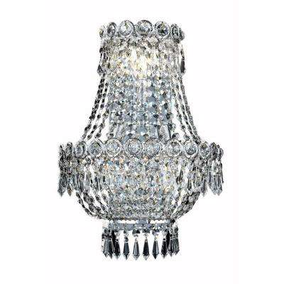 3-Light Chrome Wall Sconce with Clear Crystal
