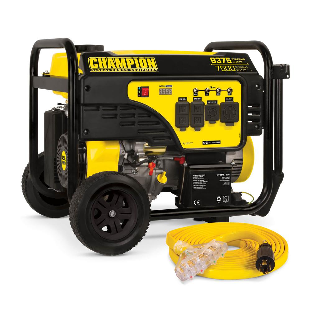 Champion Power Equipment 7500-Watt Gasoline Powered Electric Start Portable Generator with Champion 420 cc 4-stroke Engine