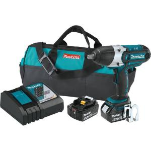 Makita 18-Volt LXT Lithium-Ion Cordless 1/2 inch sq. Drive Impact Wrench Kit with (2) Batteries 5.0Ah, Charger, Tool Bag by Makita