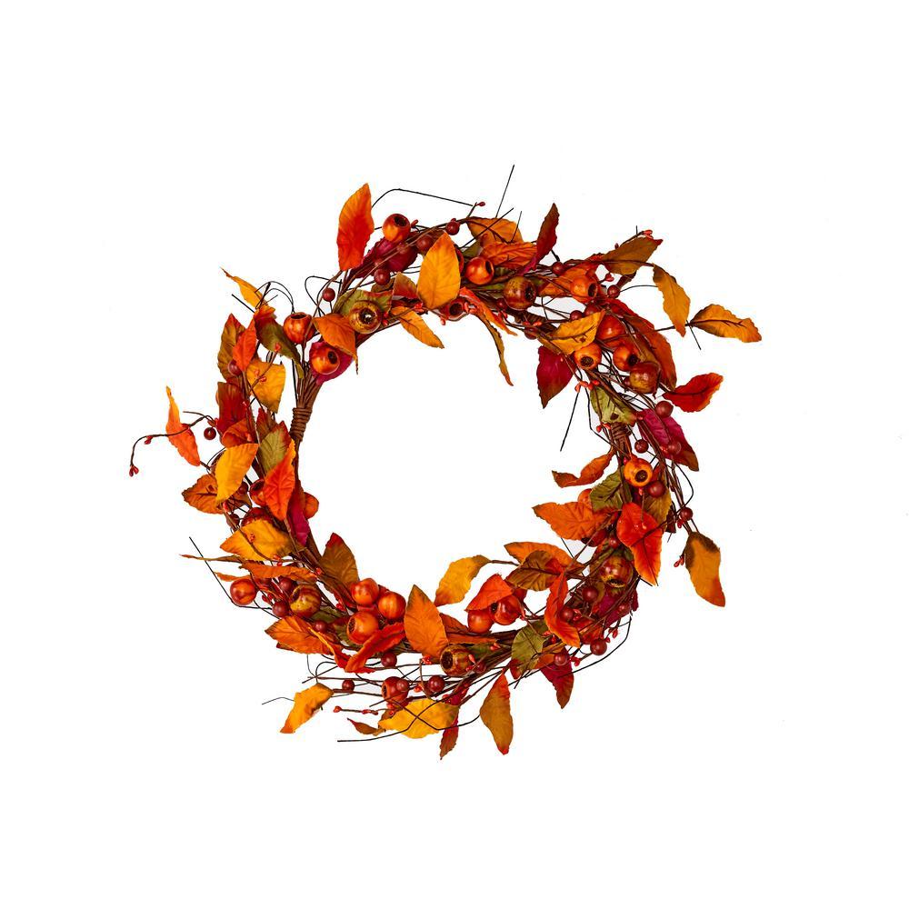 22 in. Fall Leaf and Pod Wreath