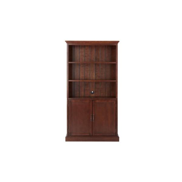 72 in. Smokey Brown Wood 3-shelf Standard Bookcase with Adjustable Shelves