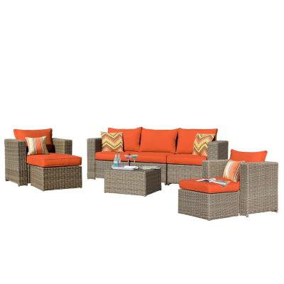 Brown 8-Piece Wicker Patio Conversation Sectional Set with CushionGuard Orange Cushions